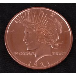 Peace Dollar 1 AVDP Oz. Fine Copper Round Copy