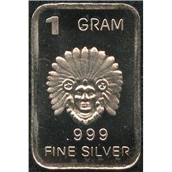 1 Gram .999 Silver Indian Chief Bullion Bar