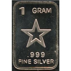 1 Gram .999 Silver Star Bullion Bar
