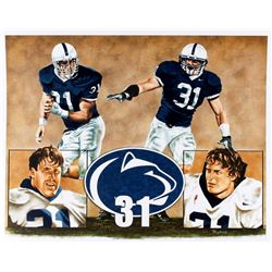 Shane Conlan & Paul Posluszny Penn State LE 16x20 Lithograph Signed by Artist Byrne (PA LOA)