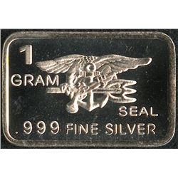 1 Gram .999 Silver US Navy Seals Bullion Bar