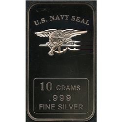 10 Grams .999 Silver U.S. Navy Seal Bullion Bar