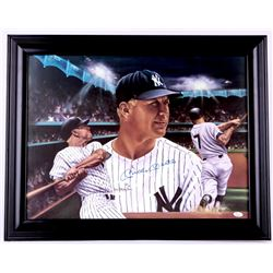 Mickey Mantle Signed Yankees 22x28 Custom Framed Photo Display (JSA LOA)