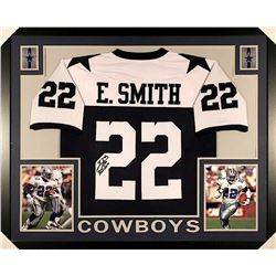 "Emmitt Smith Signed Cowboys 35x43 Custom Framed Jersey Inscribed ""HOF 2010"" (JSA COA)"