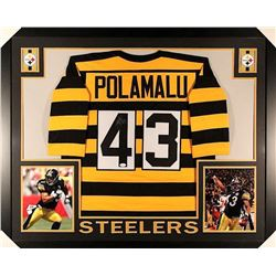 Troy Polamalu Signed Steelers 35x43 Custom Framed Jersey (JSA COA)