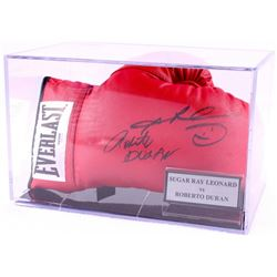 Sugar Ray Leonard & Roberto Duran Signed Everlast Boxing Glove with Display Case (PSA COA)