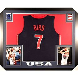 "Larry Bird Signed Team USA ""Dream Team"" 35x43 Custom Framed Jersey (JSA COA)"