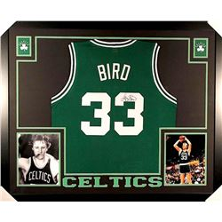 Larry Bird Signed Celtics 35x43 Custom Framed Jersey (JSA COA)
