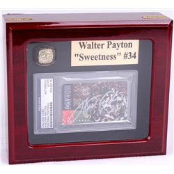 Walter Payton Bears High Quality Ring With Piano Lacquer Wooden Display Box & Signed Calling Card (P