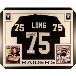 Howie Long Signed Raiders 35x43 Custom Framed Jersey (JSA COA)