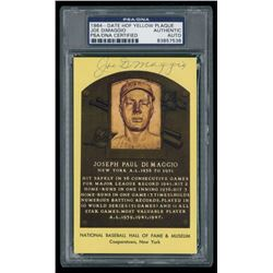 Joe DiMaggio Signed Gold HOF Postcard (PSA Encapsulated)