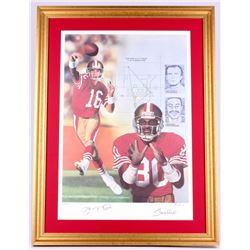 Joe Montana & Jerry Rice Signed LE 49ers 25x33 Custom Framed Lithograph Display (JSA ALOA)
