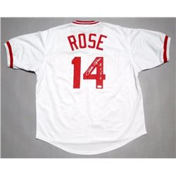 "Pete Rose Signed Reds Jersey Inscribed ""4256"" (JSA COA)"