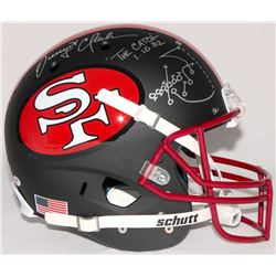 "Dwight Clark Signed 49ers ""The Catch"" Full-Size Helmet with Hand-Drawn Play Inscribed ""The Catch 1.1"