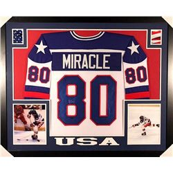 "Mike Eruzione Signed Team USA ""Miracle on Ice"" 35x43 Custom Framed Jersey (Leaf COA)"