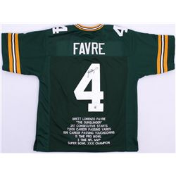 Brett Favre Signed Packers Career Highlight Stat Jersey (Favre COA)