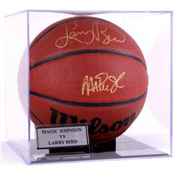 Larry Bird & Magic Johnson Signed Basketball with Display Case (PSA COA)