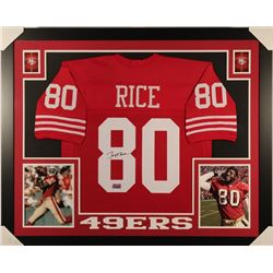 Jerry Rice Signed 49ers 35x43 Custom Framed Jersey (Rice Hologram)