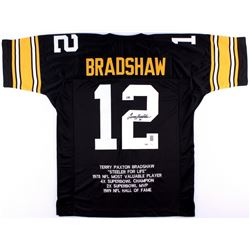 Terry Bradshaw Signed Steelers Career Highlight Stat Jersey (PSA COA & JSA COA)