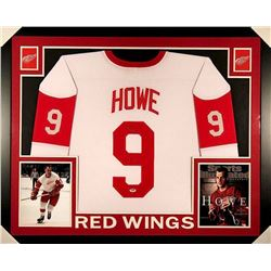 "Gordie Howe Signed Red Wings 35x43 Custom Framed Jersey Inscribed ""Mr. Hockey"" (PSA COA)"