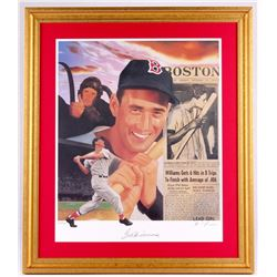 Ted Williams Signed LE Red Sox 25x29 Custom Framed Lithograph Display (JSA ALOA)