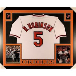 "Brooks Robinson Signed Orioles 35x43 Custom Framed Jersey Inscribed ""HOF 83"" (JSA COA)"