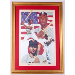 Hank Aaron & Sadaharu Oh Signed LE 23x32 Custom Framed Lithograph Display (JSA ALOA)