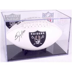 Bo Jackson Signed Raiders Logo Football with Display Case (JSA COA)