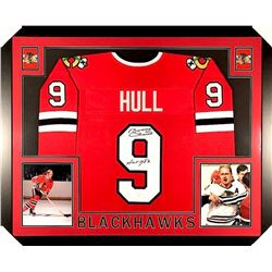 "Bobby Hull Signed Blackhawks 35x43 Custom Framed Jersey Inscribed ""HOF 1983"" (JSA COA)"