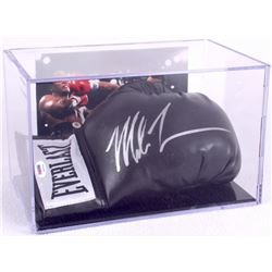 Mike Tyson Signed Black Everlast Boxing Glove with Display Case (PSA COA)