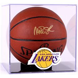 Magic Johnson Signed Basketball with Display Case (PSA COA)