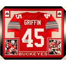 "Archie Griffin Signed Ohio State 35x43 Custom Framed Jersey Inscribed ""H.T. 1974/75"" (JSA COA)"