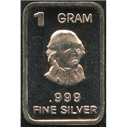 1 Gram .999 Silver John Adams Bullion Bar