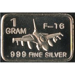 1 Gram .999 Silver F-16 Fighting Falcon Bullion Bar