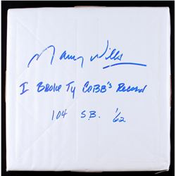 "Maury Wills Signed Full-Size Base Inscribed ""I Broke Ty Cobb's Record"" &"" 104 SB '62"" (PA COA)"
