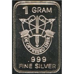 1 Gram .999 Silver US Special Forces Insignia Bullion Bar
