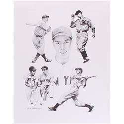 Michael Castronova Signed LE MLB 15x19 Lithograph with Joe DiMaggio