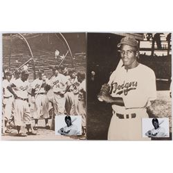 Lot of (2) Jackie Robinson Dodgers 11x14 Sepia Photos with 2x3 Art Cards by Anthony Douglas