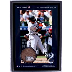 "Derek Jeter ""World Baseball Classic"" 5x7 Photo Plaque with Authentic Yankee Stadium Game-Used Dirt ("