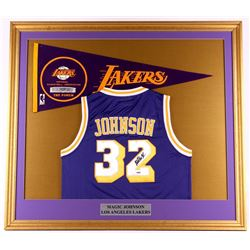 Magic Johnson Signed Lakers 35x39 Custom Framed Jersey Display (PSA COA)