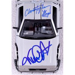 "Michael J. Fox & Christopher Lloyd Dual Signed ""Back to the Future Part"" DeLorean 1:24 Diecast Car ("
