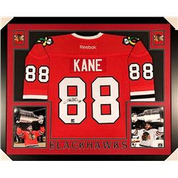 Patrick Kane Signed Blackhawks 35x43 Custom Framed Jersey (Frameworth COA)