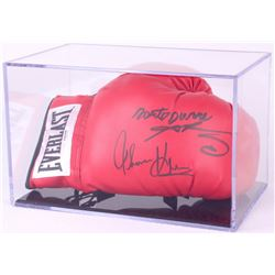 Sugar Ray Leonard, Thomas Hearns & Roberto Duran Signed Everlast Boxing Glove with Display Case (PSA