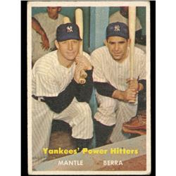 Mickey Mantle / Yogi Berra 1957 Topps #407 Yankees Power Hitters