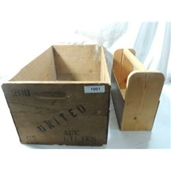 TWO PRIMITIVE WOOD BOXES TOOL FRUIT FLOWER