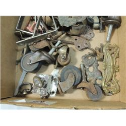 BOX LOT VINTAGE FURNITURE HARDWARE CASTERS LATCHES