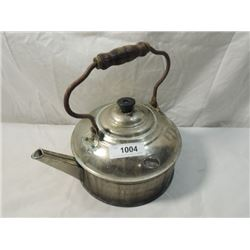 ANTIQUE TEA KETTLE STEEL WOOD HANDLE PLANTER