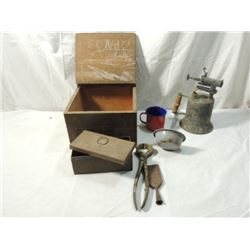 PRIMITIVE BOX LOT TORCH WOOD LADLE CUP MORE