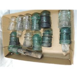 BOX LOT 12  ANTIQUE GLASS INSULATORS ELECTRIC
