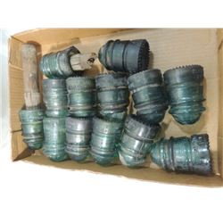 LOT 13 ANTIQUE GLASS ELECTRIC INSULATORS